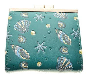 Sea Shell Pattern Change Purse Teal