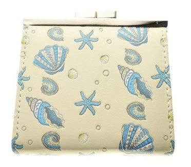 Sea Sheel Pattern Change Purse Cream