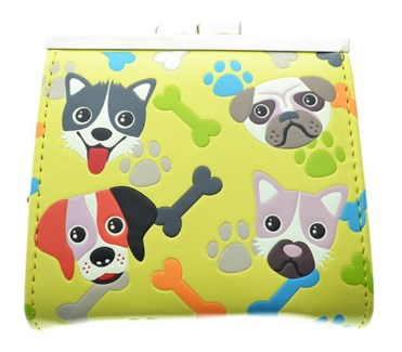 Puppy Pattern Change Purse Yellow