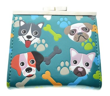 Puppy Pattern Change Purse Teal