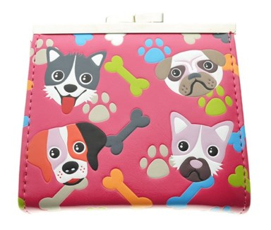 Puppy Pattern Change Purse Fuchsia