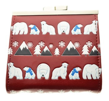 Polar Bear Pattern Change Purse Red