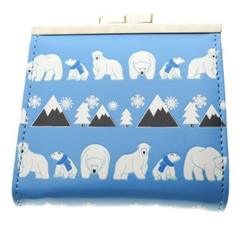 Polar Bear Pattern Change Purse Blue