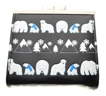 Polar Bear PatternChange Purse  Black