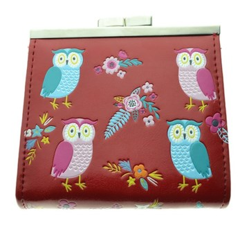 Owl Garden Change Purse Red