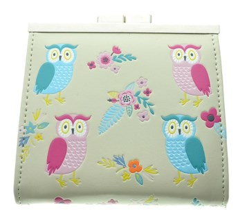 Owl Garden Change Purse Cream