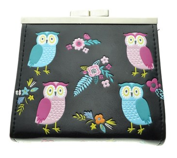 Owl Garden Change Purse Black