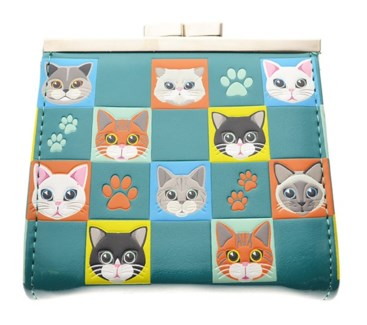 Cat Checkers Change Purse Teal
