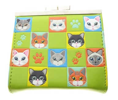 Cat Checkers Change Purse Lime Green
