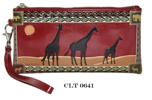 Safari Giraffes Clutch Purse Red