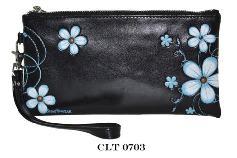 Funky Flower Clutch Purse Blue