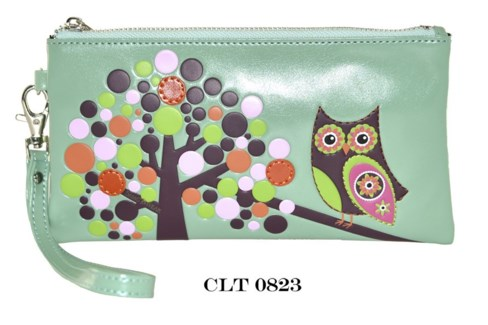Retro Owl Clutch Purse Light Teal