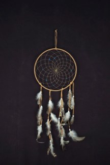 "10"" DREAM CATCHER WRAPPED IN LIGHT BROWN LEATHER WITH GENUINE TURQUOISE NUGGETS"
