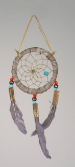 "2"" TRADITIONAL DREAM CATCHER, GREY LEATHER, FEATHERS, BEADS AND STONES"