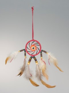 "2"" BEADED DREAM CATCHER, LEATHER WITH FEATHERS AND BEADS, ASSORTED COLORS"