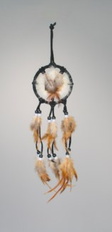 "3"" MANDELA WITH RABBIT FUR, LEATHER WITH FEATHERS AND BEADS, ASSORTED COLORS"