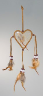 "3"" LEATHER HEART DREAM CATCHER WITH FEATHERS AND BEADS, ASSORTED COLORS"