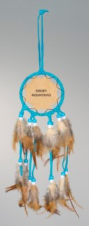 "3"" LEATHER DREAM CATCHER WITH FEATHERS AND BEADS, ASSORTED COLORS, CUSTOM EMBOSSED LEATHER"
