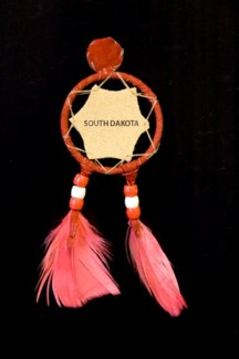 "SMALL DREAM CATCHER MAGNET w/LEATHER INSERT 2"" RING, ASST. COLORS"