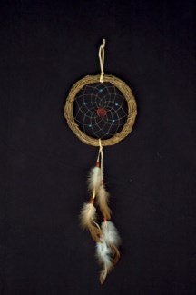 "DREAM CATCHER, TWIGS, 6.5"" dia w/TURQUOISE NUGGETS AND STONE TOTEM"