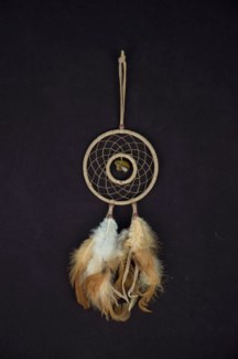 "DREAM CATCHER, LEATHER, DOUBLE RING, CARVED GEMSTONE TOTEM, 4"" dia."
