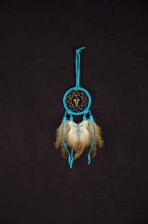 "DREAM CATCHER, LEATHER, CARVED GEMSTONE TOTEM, 2.5"" dia."