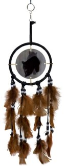 "DREAM CATCHER, BLACK LEATHER, ANIMATED BEAR, 5"" dia."