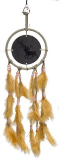 "DREAM CATCHER, TAN LEATHER, ANIMATED DEER, 5"" dia."