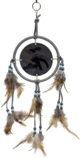 "DREAM CATCHER, GRAY LEATHER, ANIMATED EAGLE, 5"" dia."