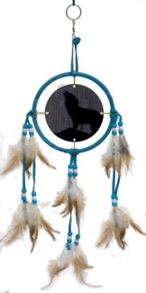 "DREAM CATCHER, TURQUOISE LEATHER, ANIMATED WOLF, 5"" dia."