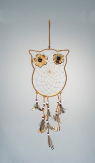 "OWL DREAM CATCHER, 7"" x 8.5"" PLUS FEATHERS, BROWN"