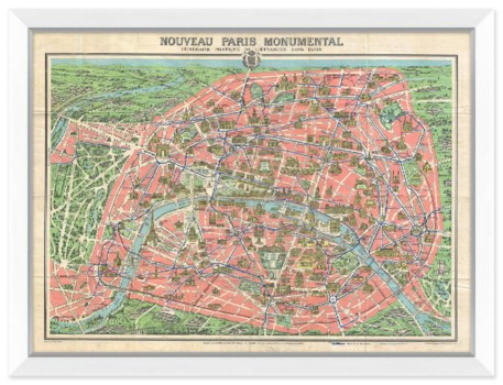 Map of Paris with Monuments