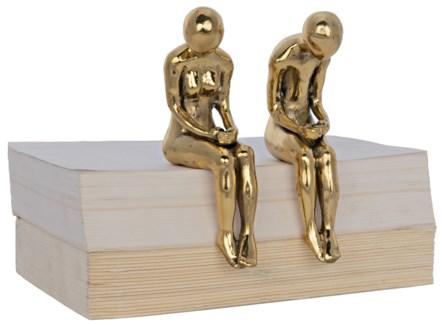 Irao Couple Statue, Small, Brass