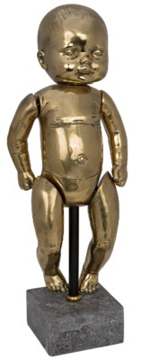Girl Baby Doll On Stand, Brass