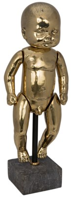 Boy Baby Doll On Stand, Brass