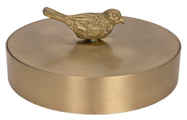 Solid Brass Jewelry Box with Bird Knob