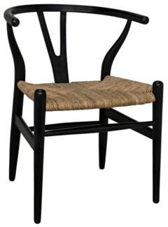 Zola Chair w/Rush Seat, Charcoal Black