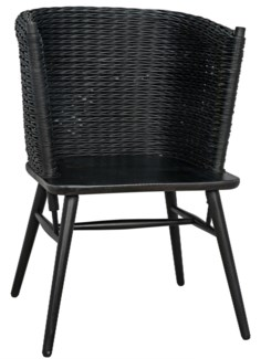 Curba Chair w/Rattan, Charcoal Black