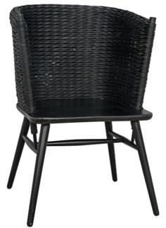 Curba Chair w/Rattan, Charcoal Black