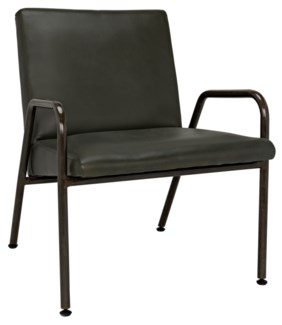 Oplus Lounge Chair, Rustic Finish, Green Leather