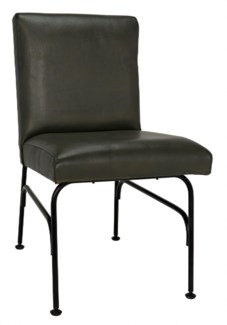 Oplus Dining Chair, Rustic Finish, Green Leather