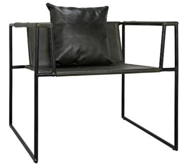 Reinhold Chair w/Leather, Iron