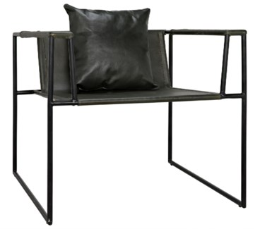 Reinhold Chair w/Leather, Iron