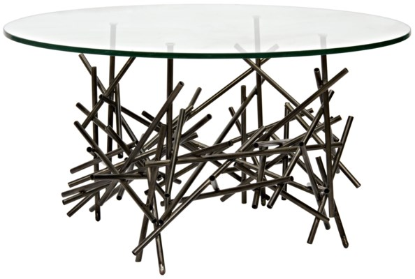 Nest Side Table with Metal Base and Glass Top