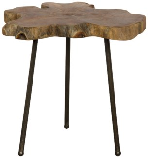 Slab Slice Table with Cast Iron Base and Teak Top
