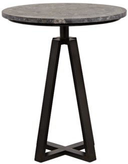 Compasso Side Table, Metal and Black Marble
