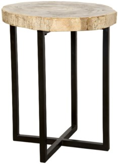 Cross Base Side Table, Metal and Petrified Fossil