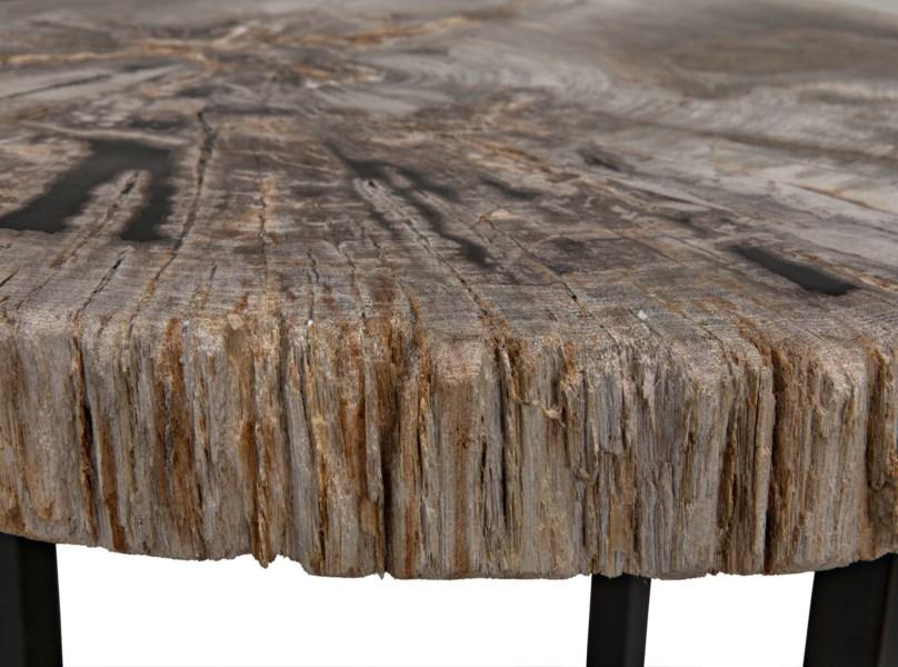 Large Cross Base Petrified Top Side Table