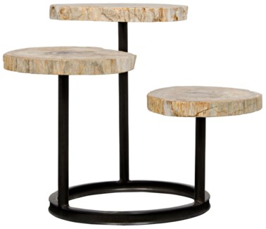 Corado Table, Metal and Petrified Wood