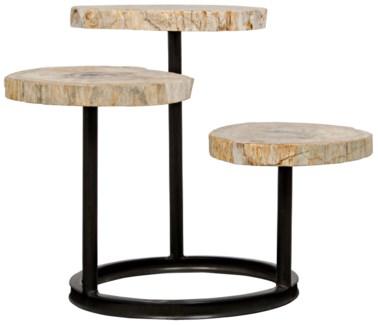 Corado Table, Metal and Petrified Wood